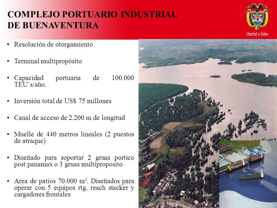 COMPLEJO PORTUARIO INDUSTRIAL DE BUENAVENTURA Resolución de otorgamiento Terminal multipropósito Capacidad portuaria de 100.000 TEU´s/año.