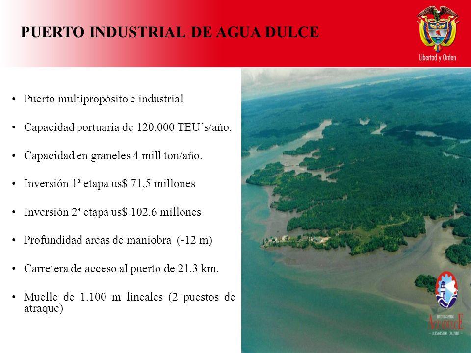Puerto multipropósito e industrial Capacidad portuaria de 120.000 TEU´s/año.
