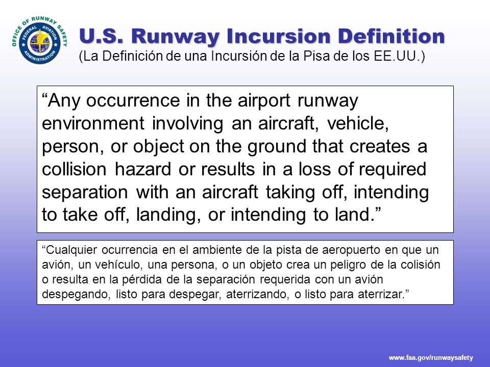 www.faa.gov/runwaysafety Runway Incursion Severity Categories Operational dimensions affecting runway incursion severity Available Reaction Time Available Reaction Time Evasive or Corrective Action Evasive or Corrective Action Environmental Conditions Environmental Conditions Speed of Aircraft and/or Vehicle Speed of Aircraft and/or Vehicle Proximity of Aircraft and/or Vehicle Proximity of Aircraft and/or Vehicle Increasing Severity (La Severidad Creciente) Category B Separation decreases and there is a significant potential for collision Separation decreases and there is a significant potential for a collision.