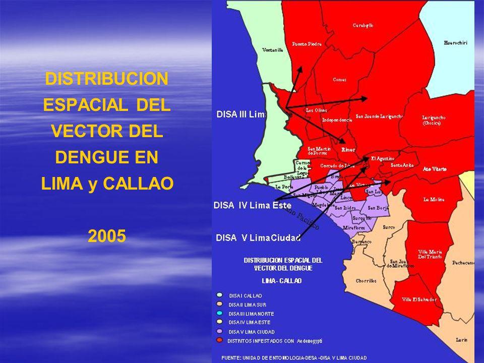 DISTRIBUCION ESPACIAL DEL VECTOR DEL DENGUE EN LIMA y CALLAO 2005