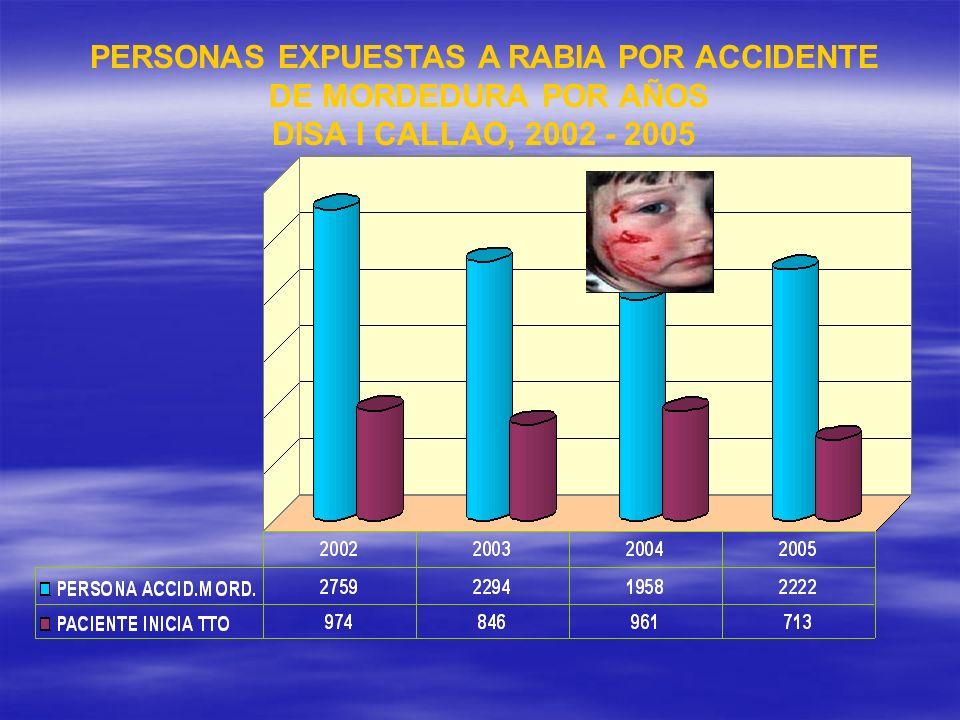 PERSONAS EXPUESTAS A RABIA POR ACCIDENTE DE MORDEDURA POR AÑOS DISA I CALLAO, 2002 - 2005