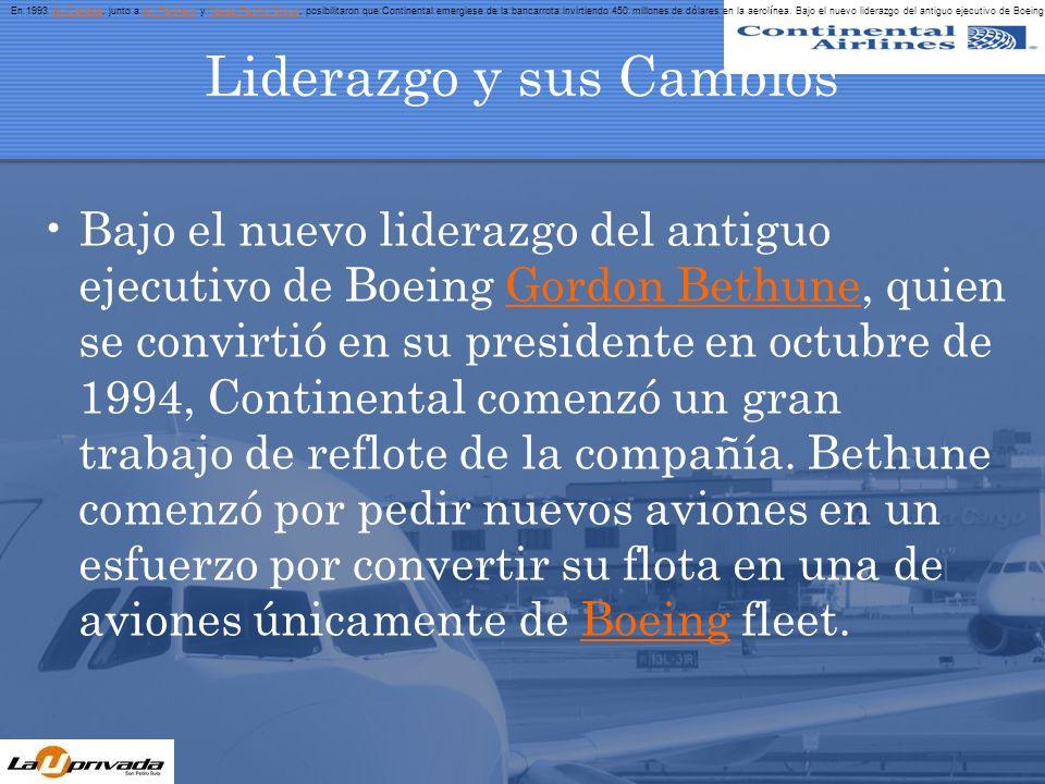 Liderazgo y sus Cambios Bethune también inició un plan de avance, creado para reparar la mermada moral de sus empleados y para suprimir otros problemas de la aerolínea.