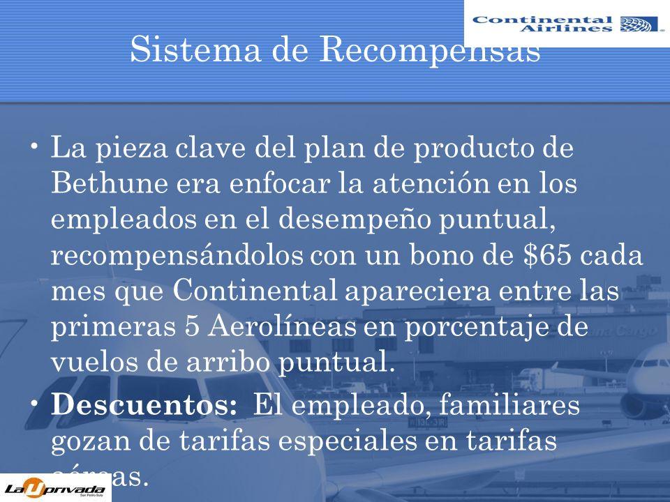 Sistema de Recompensas La pieza clave del plan de producto de Bethune era enfocar la atención en los empleados en el desempeño puntual, recompensándol