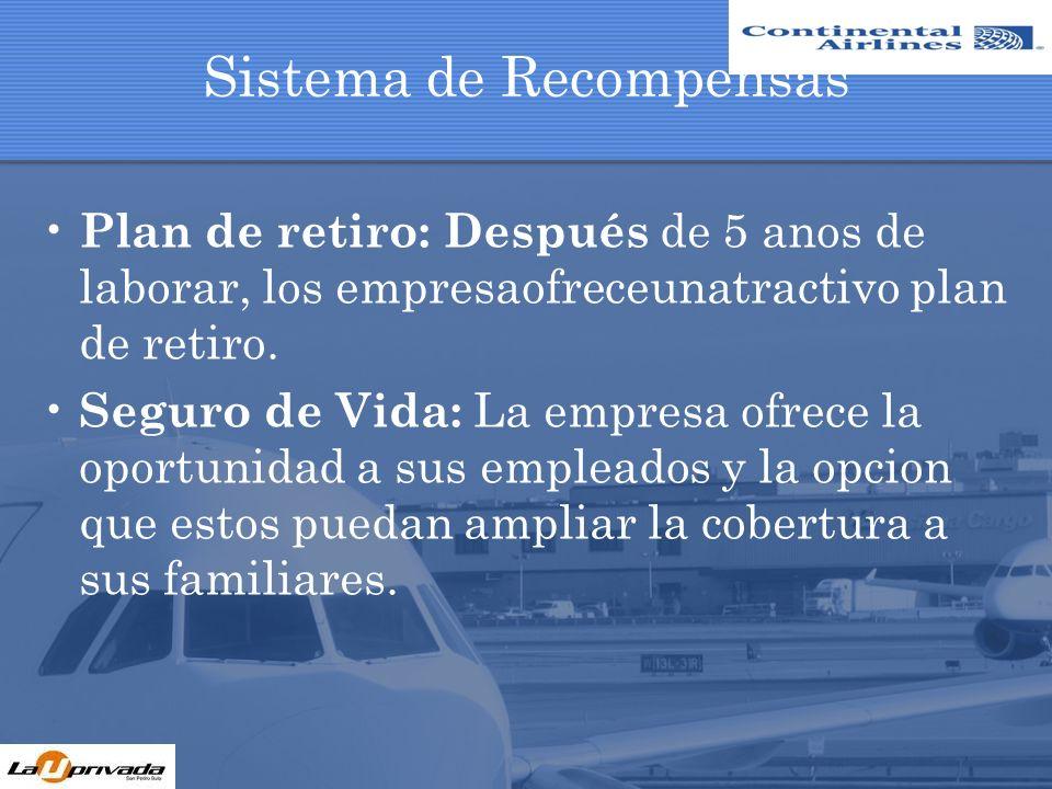Sistema de Recompensas Plan de retiro: Después de 5 anos de laborar, los empresaofreceunatractivo plan de retiro. Seguro de Vida: La empresa ofrece la