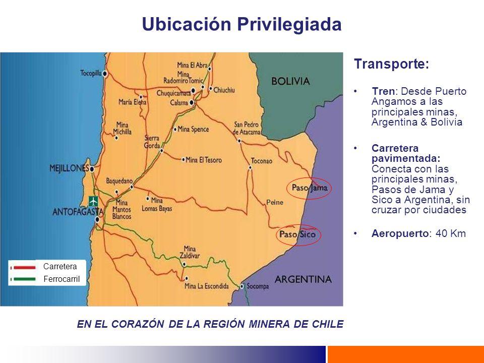 Carretera Ferrocarril Transporte: Tren: Desde Puerto Angamos a las principales minas, Argentina & Bolivia Carretera pavimentada: Conecta con las princ