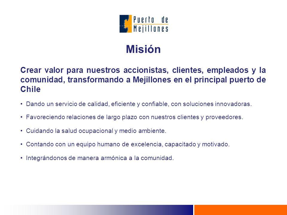 Crear valor para nuestros accionistas, clientes, empleados y la comunidad, transformando a Mejillones en el principal puerto de Chile Dando un servicio de calidad, eficiente y confiable, con soluciones innovadoras.