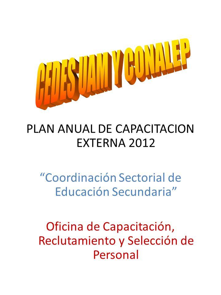 PLAN ANUAL DE CAPACITACION EXTERNA 2012 Coordinación Sectorial de Educación Secundaria Oficina de Capacitación, Reclutamiento y Selección de Personal