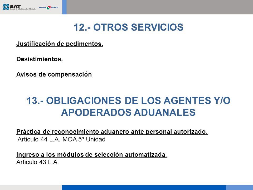 Justificación de pedimentos. Desistimientos. Avisos de compensación 12.- OTROS SERVICIOS Práctica de reconocimiento aduanero ante personal autorizado.