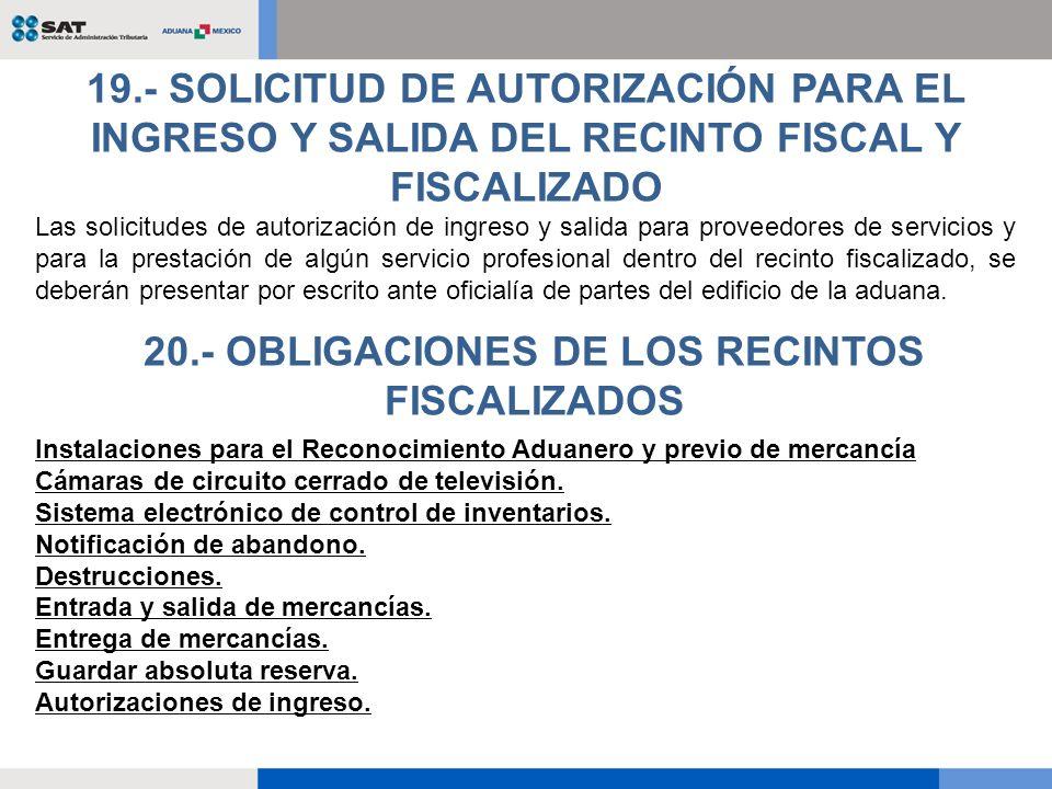 Las solicitudes de autorización de ingreso y salida para proveedores de servicios y para la prestación de algún servicio profesional dentro del recint