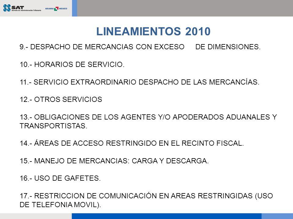 9.- DESPACHO DE MERCANCIAS CON EXCESO DE DIMENSIONES. 10.- HORARIOS DE SERVICIO. 11.- SERVICIO EXTRAORDINARIO DESPACHO DE LAS MERCANCÍAS. 12.- OTROS S
