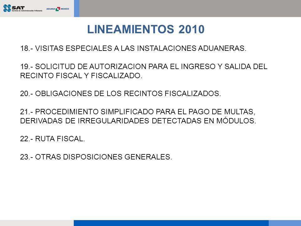 18.- VISITAS ESPECIALES A LAS INSTALACIONES ADUANERAS. 19.- SOLICITUD DE AUTORIZACION PARA EL INGRESO Y SALIDA DEL RECINTO FISCAL Y FISCALIZADO. 20.-