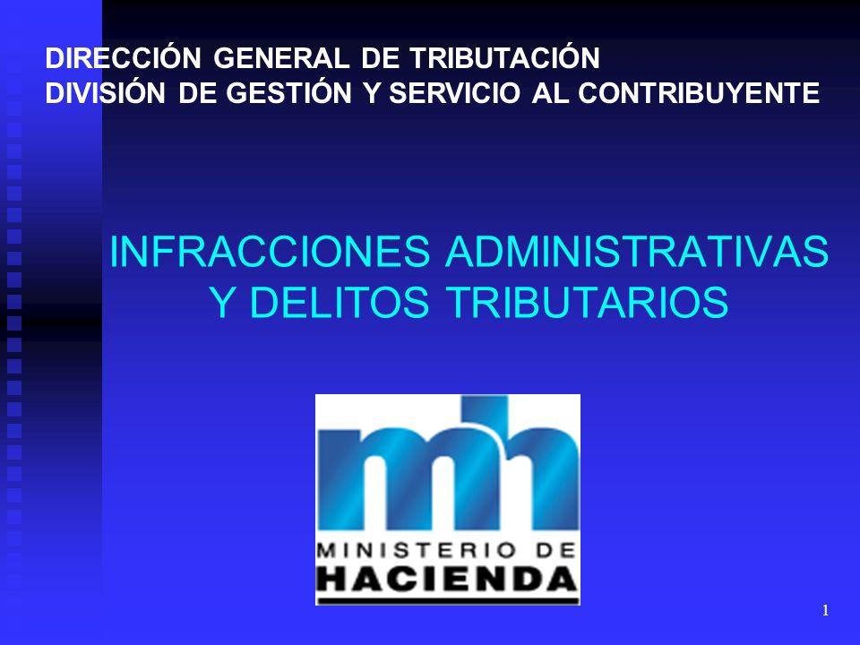1 DIRECCIÓN GENERAL DE TRIBUTACIÓN DIVISIÓN DE GESTIÓN Y SERVICIO AL CONTRIBUYENTE INFRACCIONES ADMINISTRATIVAS Y DELITOS TRIBUTARIOS