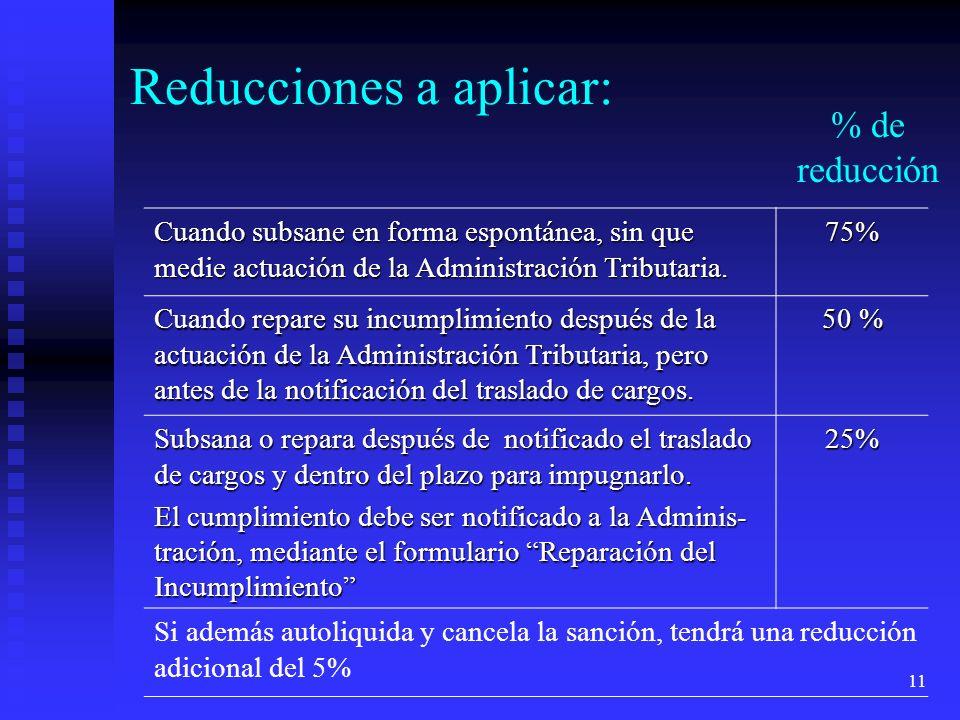 11 Cuando subsane en forma espontánea, sin que medie actuación de la Administración Tributaria. 75% Cuando repare su incumplimiento después de la actu