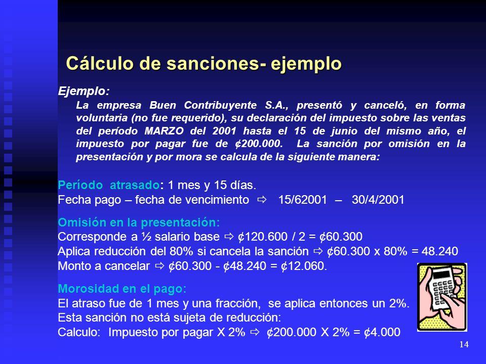 14 Cálculo de sanciones- ejemplo Ejemplo: La empresa Buen Contribuyente S.A., presentó y canceló, en forma voluntaria (no fue requerido), su declaraci