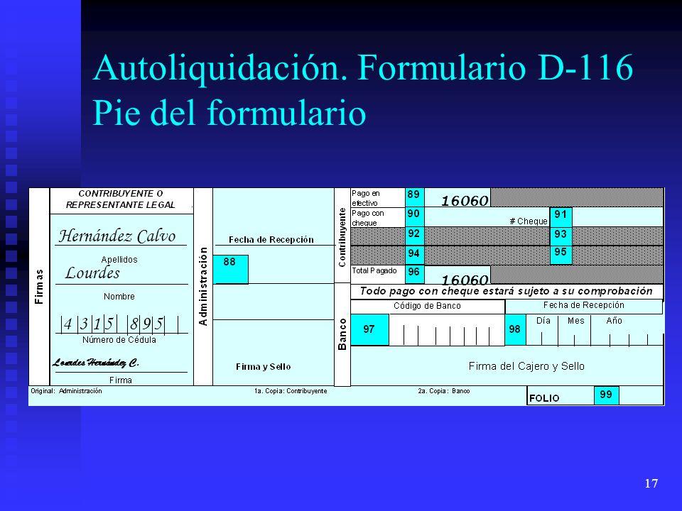 17 16060 Hernández Calvo Lourdes 4 3 1 5 8 9 5 Lourdes Hernández C. Autoliquidación. Formulario D-116 Pie del formulario