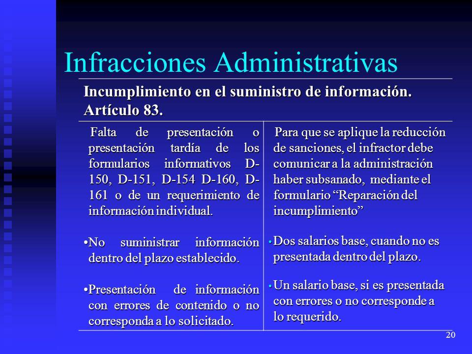 20 Incumplimiento en el suministro de información. Artículo 83. Falta de presentación o presentación tardía de los formularios informativos D- 150, D-