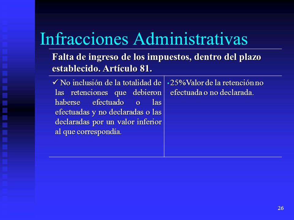 26 Falta de ingreso de los impuestos, dentro del plazo establecido. Artículo 81. No inclusión de la totalidad de las retenciones que debieron haberse