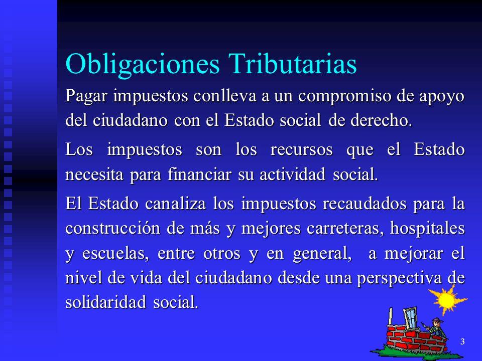 3 Obligaciones Tributarias Pagar impuestos conlleva a un compromiso de apoyo del ciudadano con el Estado social de derecho. Los impuestos son los recu