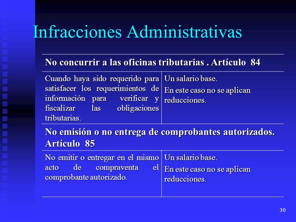 30 No concurrir a las oficinas tributarias. Artículo 84 Cuando haya sido requerido para satisfacer los requerimientos de información para verificar y