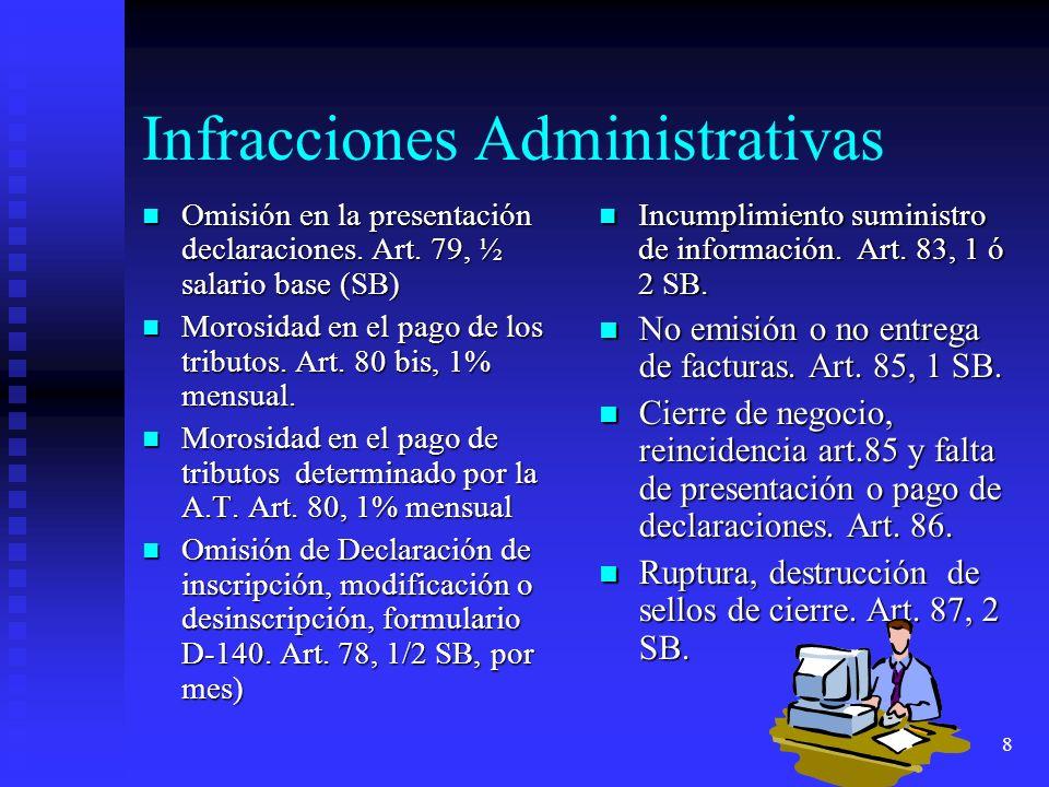 8 Infracciones Administrativas Omisión en la presentación declaraciones. Art. 79, ½ salario base (SB) Omisión en la presentación declaraciones. Art. 7