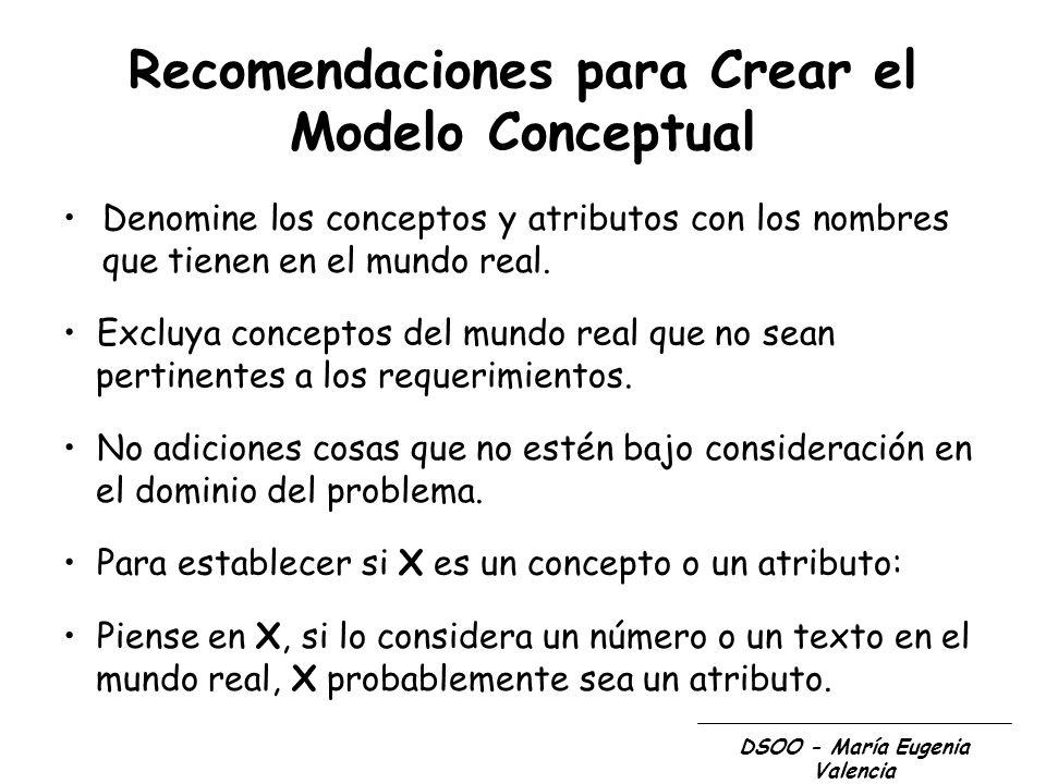 DSOO - María Eugenia Valencia Recomendaciones para Crear el Modelo Conceptual Denomine los conceptos y atributos con los nombres que tienen en el mund
