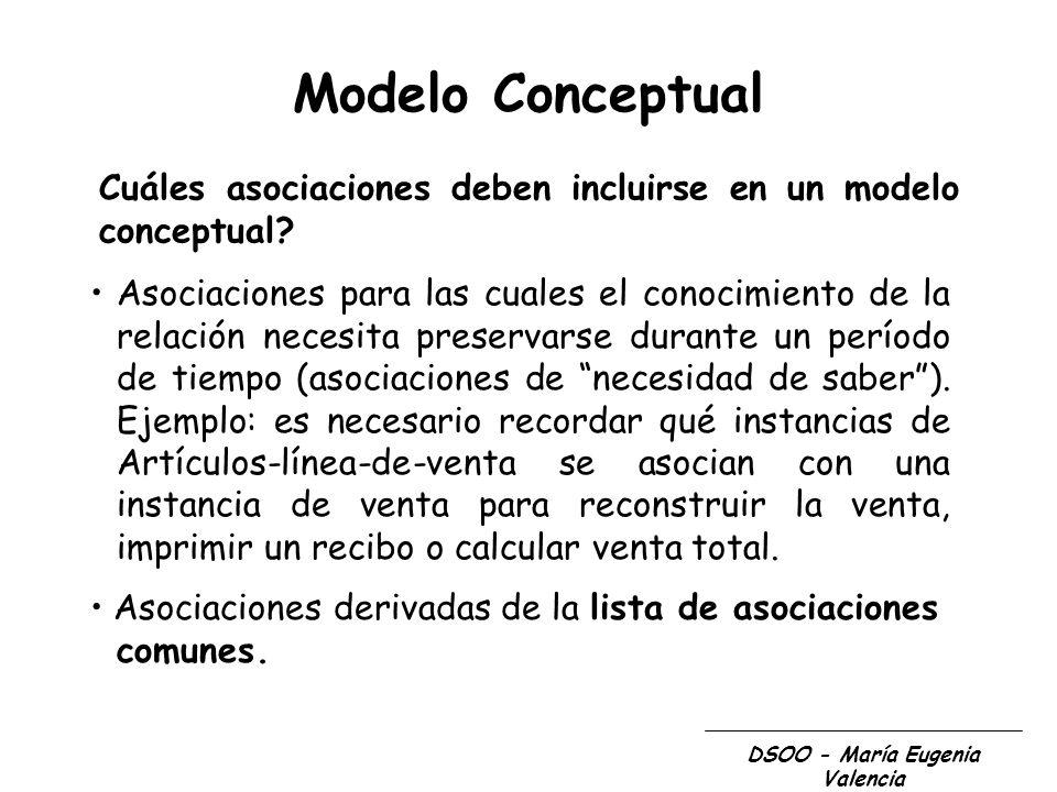 DSOO - María Eugenia Valencia Modelo Conceptual Cuáles asociaciones deben incluirse en un modelo conceptual? Asociaciones para las cuales el conocimie