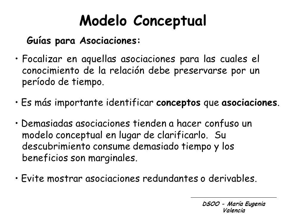DSOO - María Eugenia Valencia Modelo Conceptual Guías para Asociaciones: Focalizar en aquellas asociaciones para las cuales el conocimiento de la rela