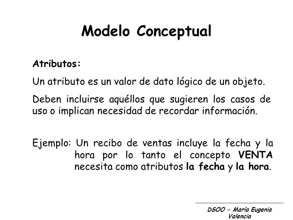 Modelo Conceptual Atributos: Un atributo es un valor de dato lógico de un objeto. Deben incluirse aquéllos que sugieren los casos de uso o implican ne