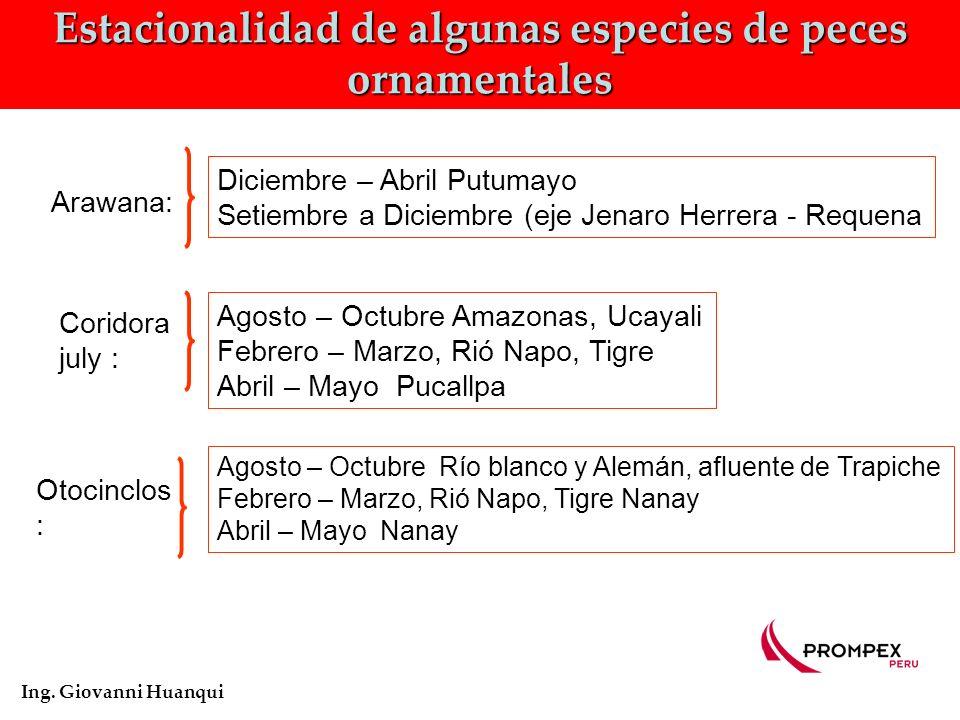 Estacionalidad de algunas especies de peces ornamentales Ing.