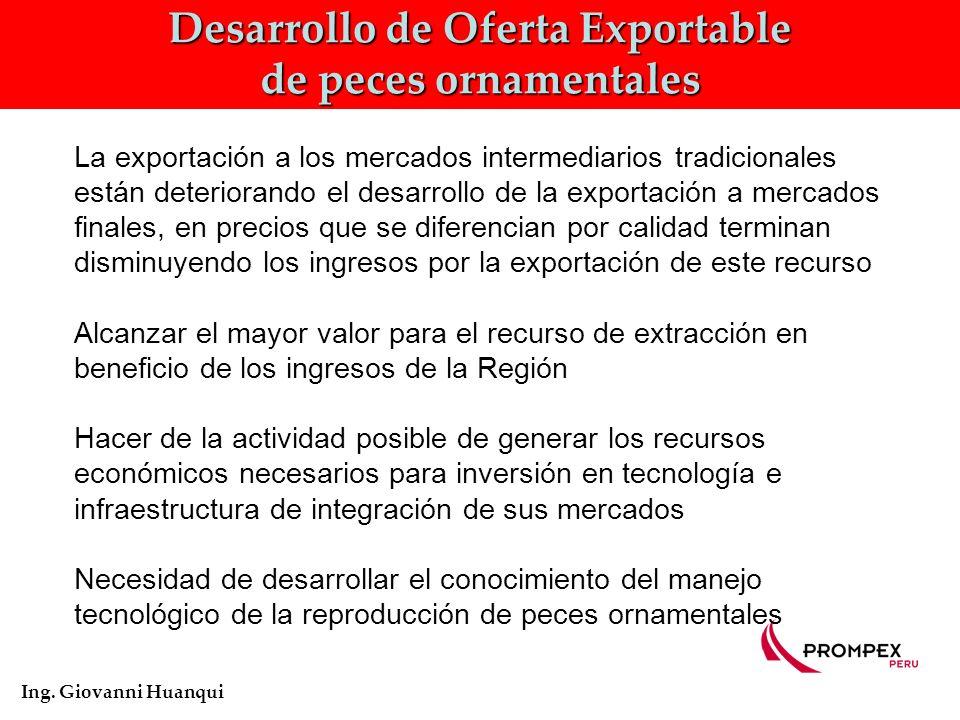 Desarrollo de Oferta Exportable de peces ornamentales Ing.