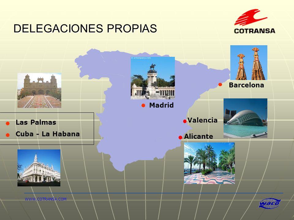 DELEGACIONES PROPIAS Alicante Barcelona Valencia Las Palmas Madrid Cuba - La Habana WWW.COTRANSA.COM