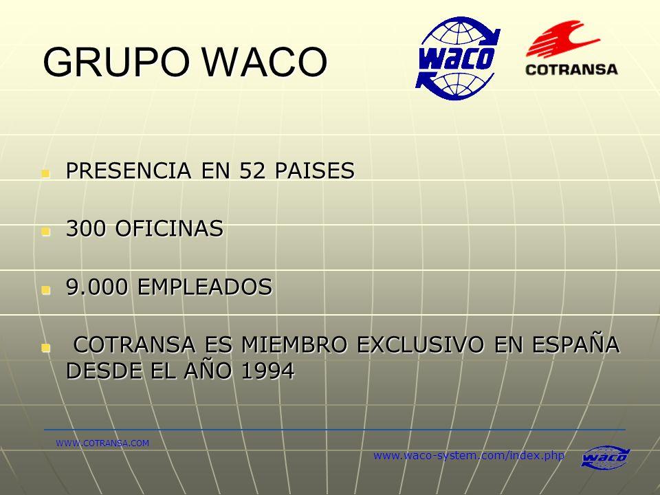 GRUPO WACO PRESENCIA EN 52 PAISES PRESENCIA EN 52 PAISES 300 OFICINAS 300 OFICINAS 9.000 EMPLEADOS 9.000 EMPLEADOS COTRANSA ES MIEMBRO EXCLUSIVO EN ES