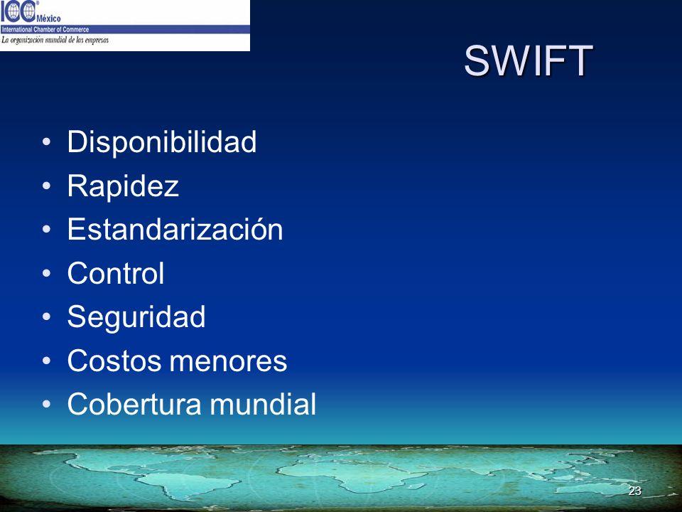23 SWIFT Disponibilidad Rapidez Estandarización Control Seguridad Costos menores Cobertura mundial