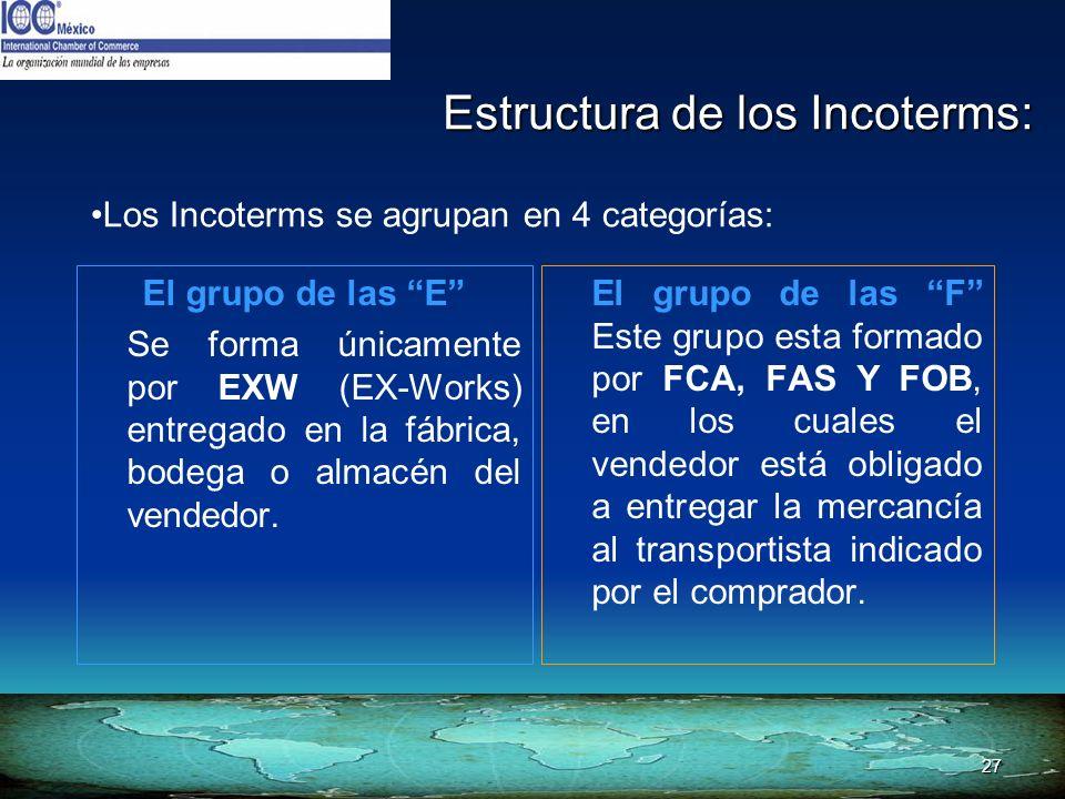 27 Estructura de los Incoterms: Los Incoterms se agrupan en 4 categorías: El grupo de las E Se forma únicamente por EXW (EX-Works) entregado en la fáb
