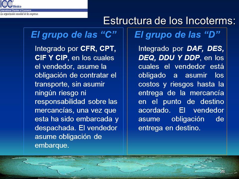 28 Estructura de los Incoterms: El grupo de las C Integrado por CFR, CPT, CIF Y CIP, en los cuales el vendedor, asume la obligación de contratar el tr