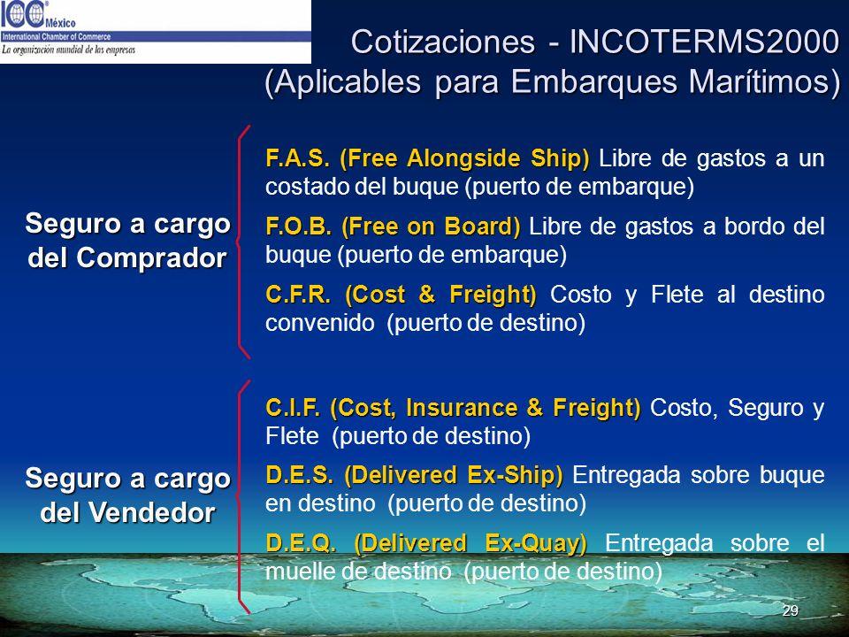 29 Cotizaciones - INCOTERMS2000 (Aplicables para Embarques Marítimos) F.A.S. (Free Alongside Ship) F.A.S. (Free Alongside Ship) Libre de gastos a un c