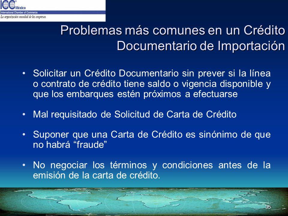 35 Problemas más comunes en un Crédito Documentario de Importación Solicitar un Crédito Documentario sin prever si la línea o contrato de crédito tien