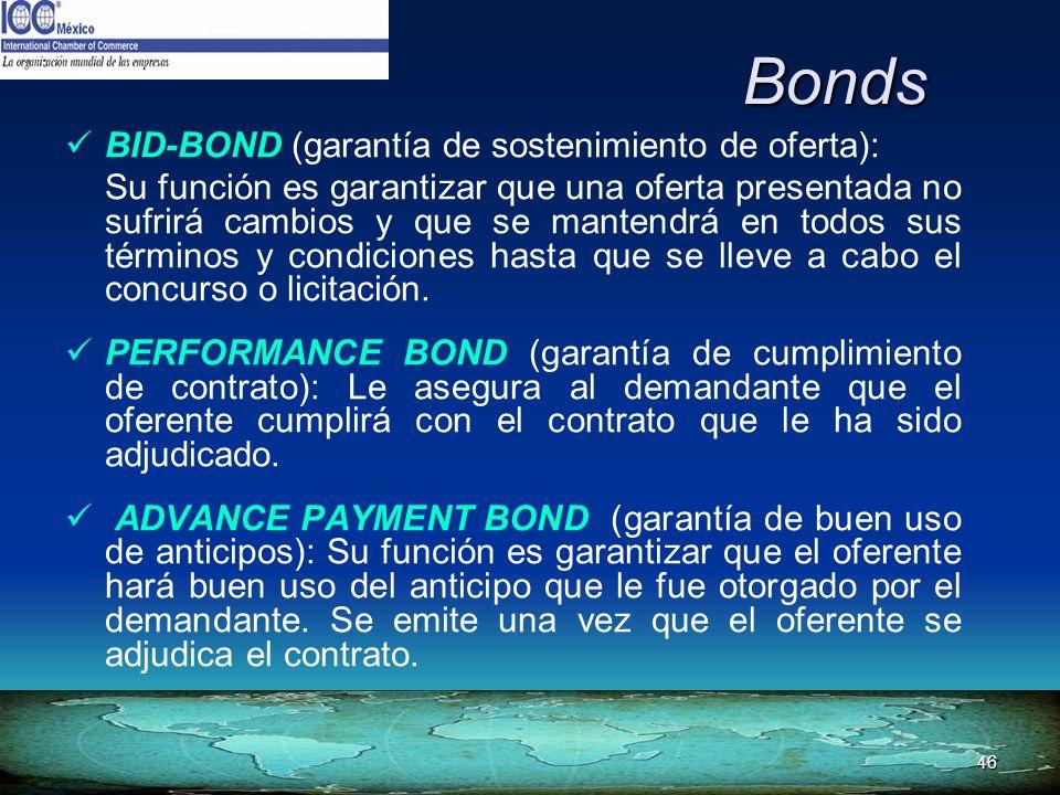 46 Bonds BID-BOND (garantía de sostenimiento de oferta): Su función es garantizar que una oferta presentada no sufrirá cambios y que se mantendrá en t