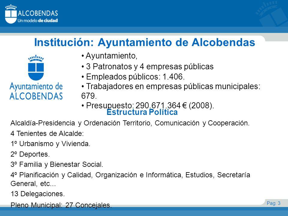 Pag. 3 Institución: Ayuntamiento de Alcobendas Ayuntamiento, 3 Patronatos y 4 empresas públicas Empleados públicos: 1.406. Trabajadores en empresas pú