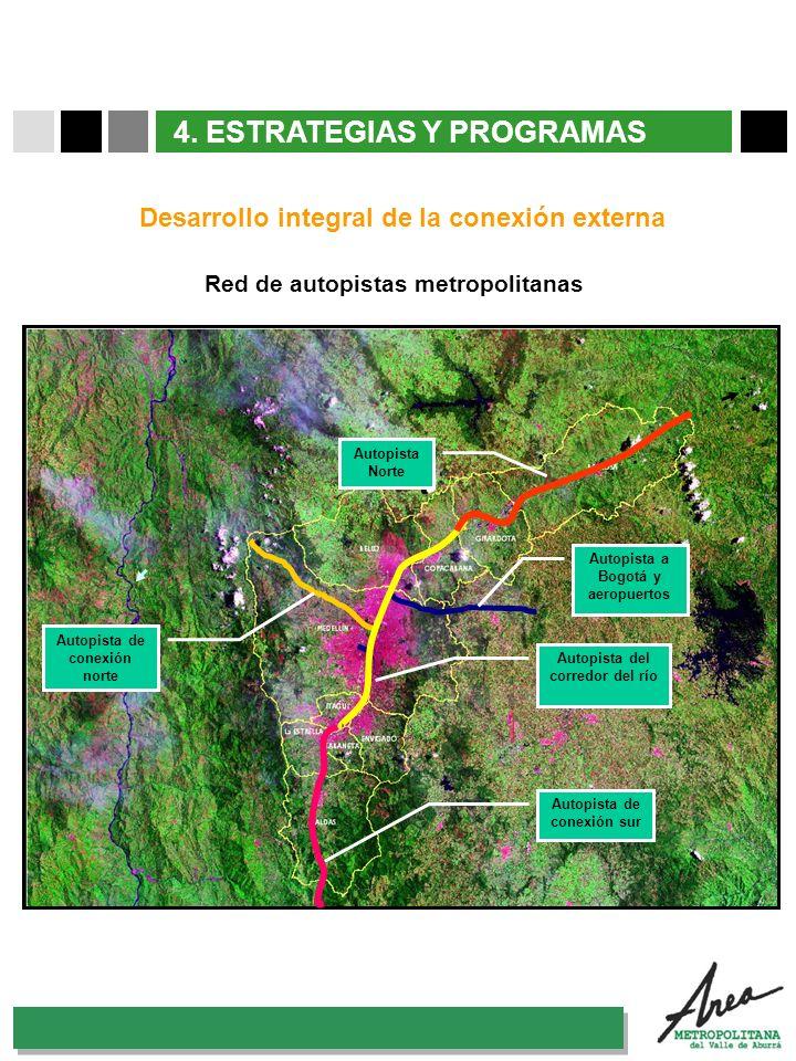 31 Octubre 2007 4. ESTRATEGIAS Y PROGRAMAS Red de autopistas metropolitanas Desarrollo integral de la conexión externa Al nordeste Puerto Berrío Magda