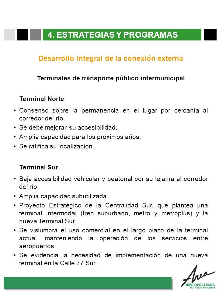 31 Octubre 2007 4. ESTRATEGIAS Y PROGRAMAS Desarrollo integral de la conexión externa Terminal Norte Consenso sobre la permanencia en el lugar por cer