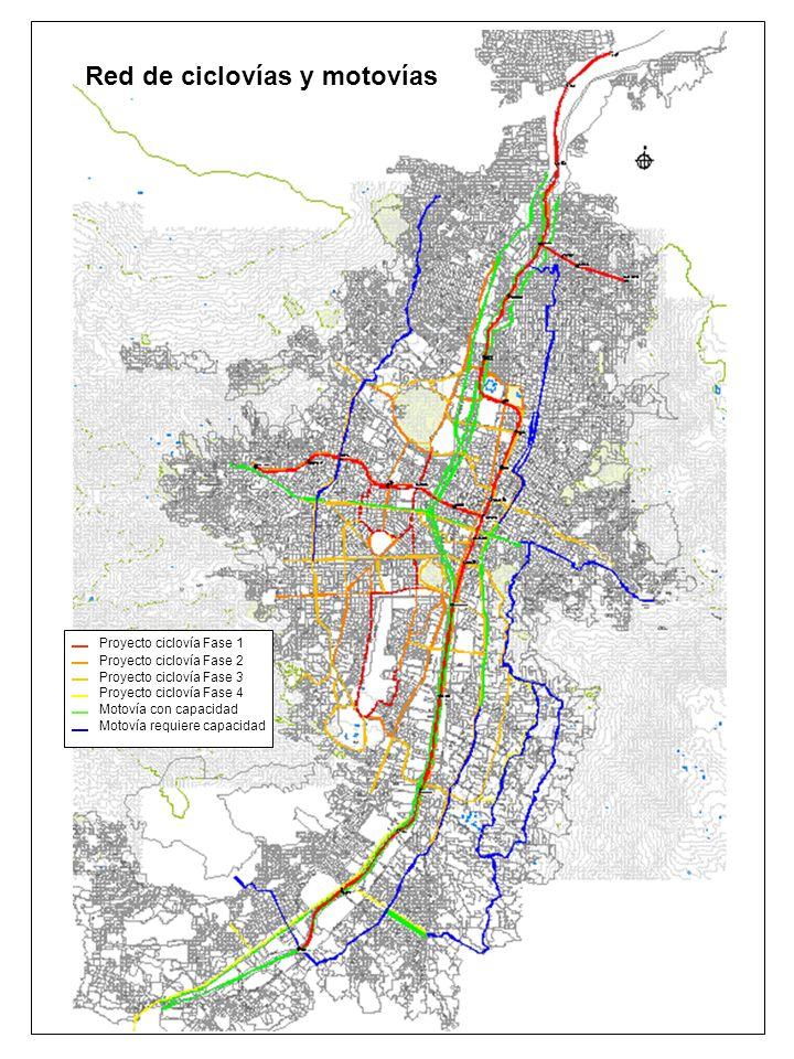 31 Octubre 2007 Red de ciclovías y motovías Proyecto ciclovía Fase 1 Proyecto ciclovía Fase 2 Proyecto ciclovía Fase 3 Proyecto ciclovía Fase 4 Motoví