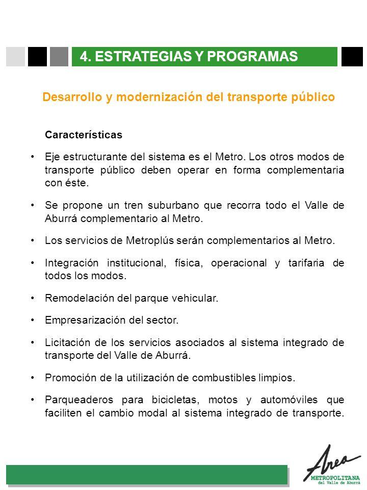 31 Octubre 2007 4. ESTRATEGIAS Y PROGRAMAS Características Eje estructurante del sistema es el Metro. Los otros modos de transporte público deben oper
