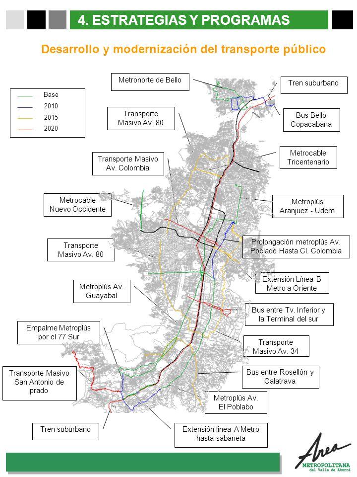 31 Octubre 2007 4. ESTRATEGIAS Y PROGRAMAS Metroplús Aranjuez - Udem Metrocable Tricentenario Bus Bello Copacabana Metroplús Av. El Poblabo Extensión