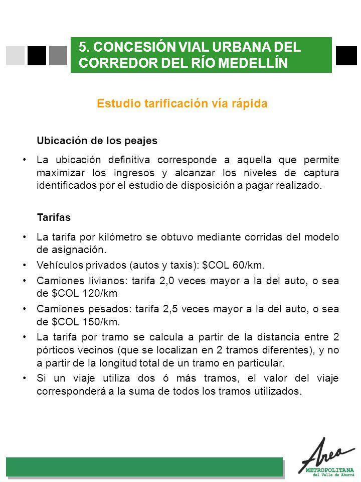 31 Octubre 2007 5. CONCESIÓN VIAL URBANA DEL CORREDOR DEL RÍO MEDELLÍN Estudio tarificación vía rápida Ubicación de los peajes La ubicación definitiva