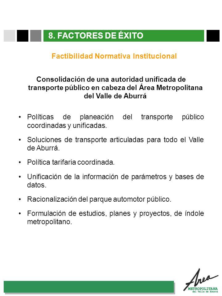 31 Octubre 2007 8. FACTORES DE ÉXITO Factibilidad Normativa Institucional Consolidación de una autoridad unificada de transporte público en cabeza del