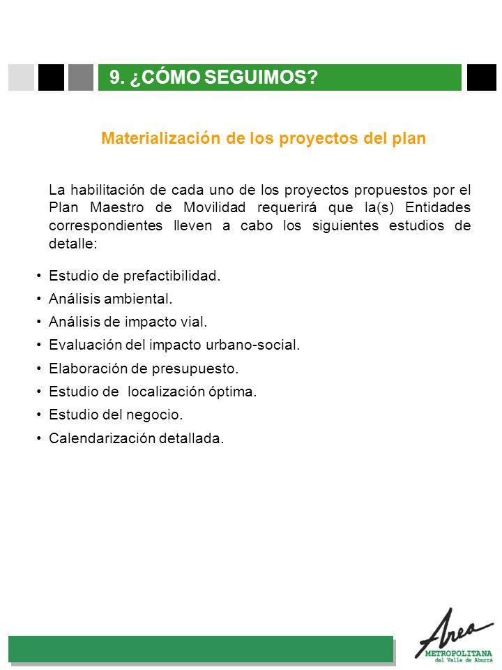 31 Octubre 2007 9. ¿CÓMO SEGUIMOS? La habilitación de cada uno de los proyectos propuestos por el Plan Maestro de Movilidad requerirá que la(s) Entida