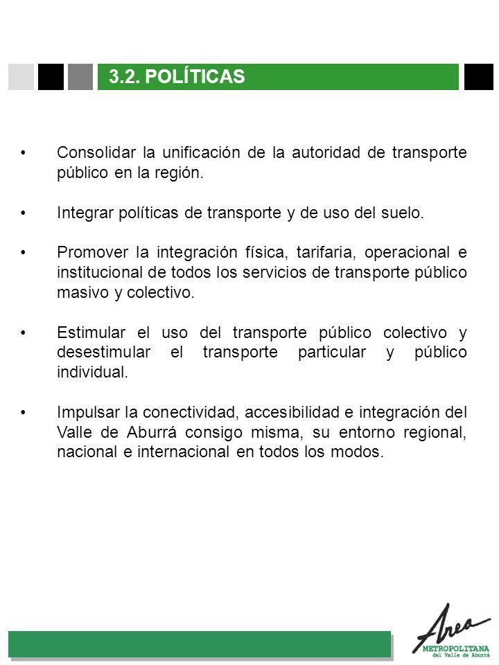 31 Octubre 2007 3.2. POLÍTICAS Consolidar la unificación de la autoridad de transporte público en la región. Integrar políticas de transporte y de uso
