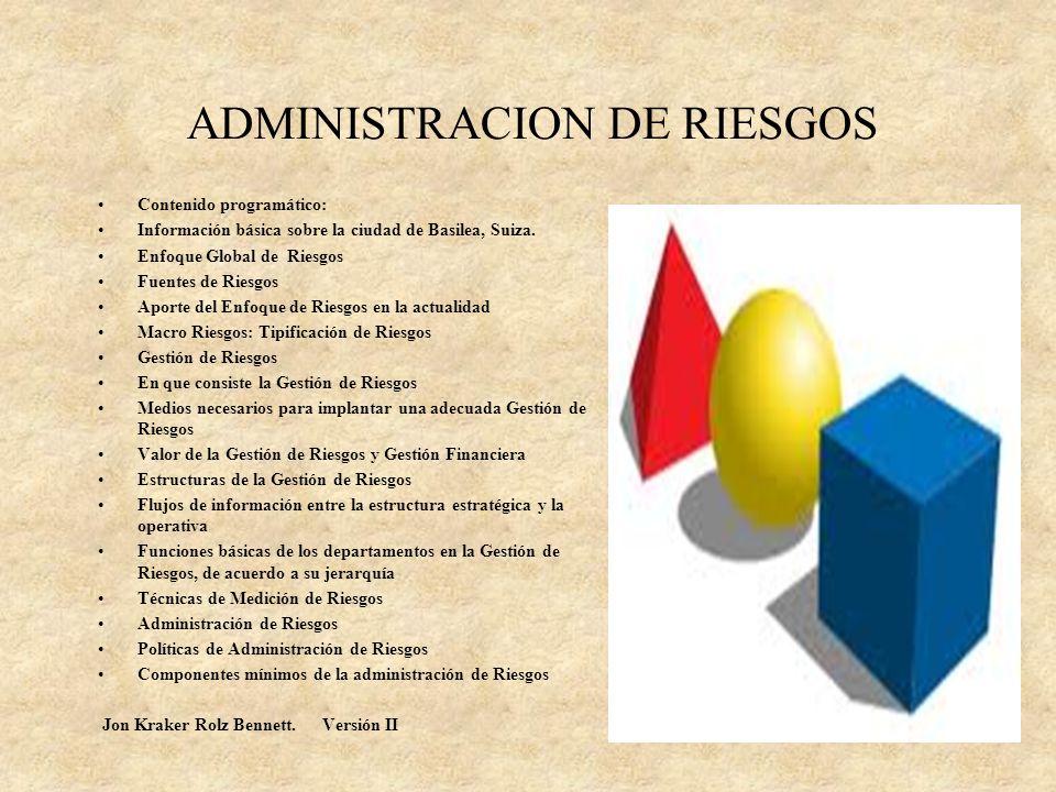 ADMINISTRACION DE RIESGOS Gracias por su atención