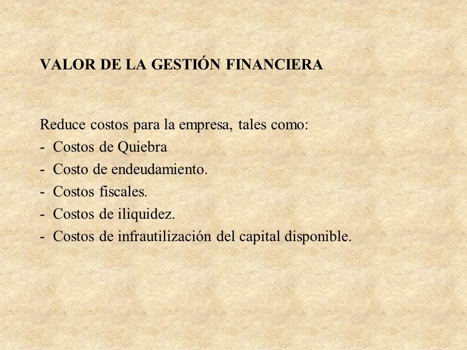 VALOR DE LA GESTIÓN FINANCIERA Reduce costos para la empresa, tales como: - Costos de Quiebra - Costo de endeudamiento. - Costos fiscales. - Costos de